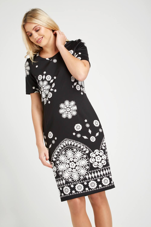Roman-Originals-Women-039-s-Black-Border-Print-Scuba-Dress-Sizes-10-20 thumbnail 9