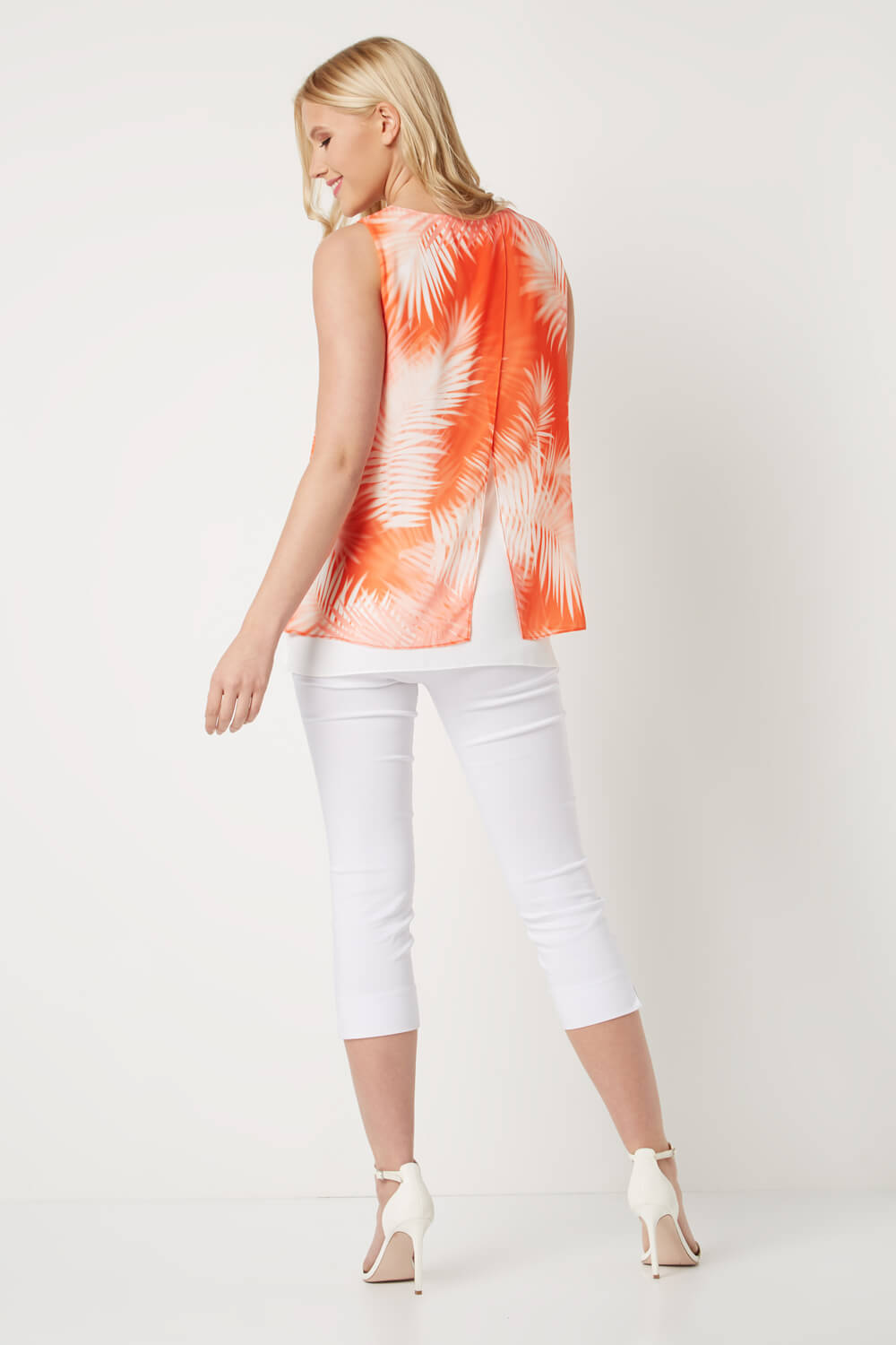 Roman-Originals-Women-039-s-Orange-Tropical-Leaf-Print-Blouse-Sizes-10-20
