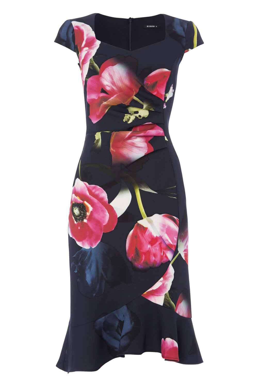 Roman-Originals-Women-039-s-Blue-Floral-Print-Sweetheart-Dress-Sizes-10-20