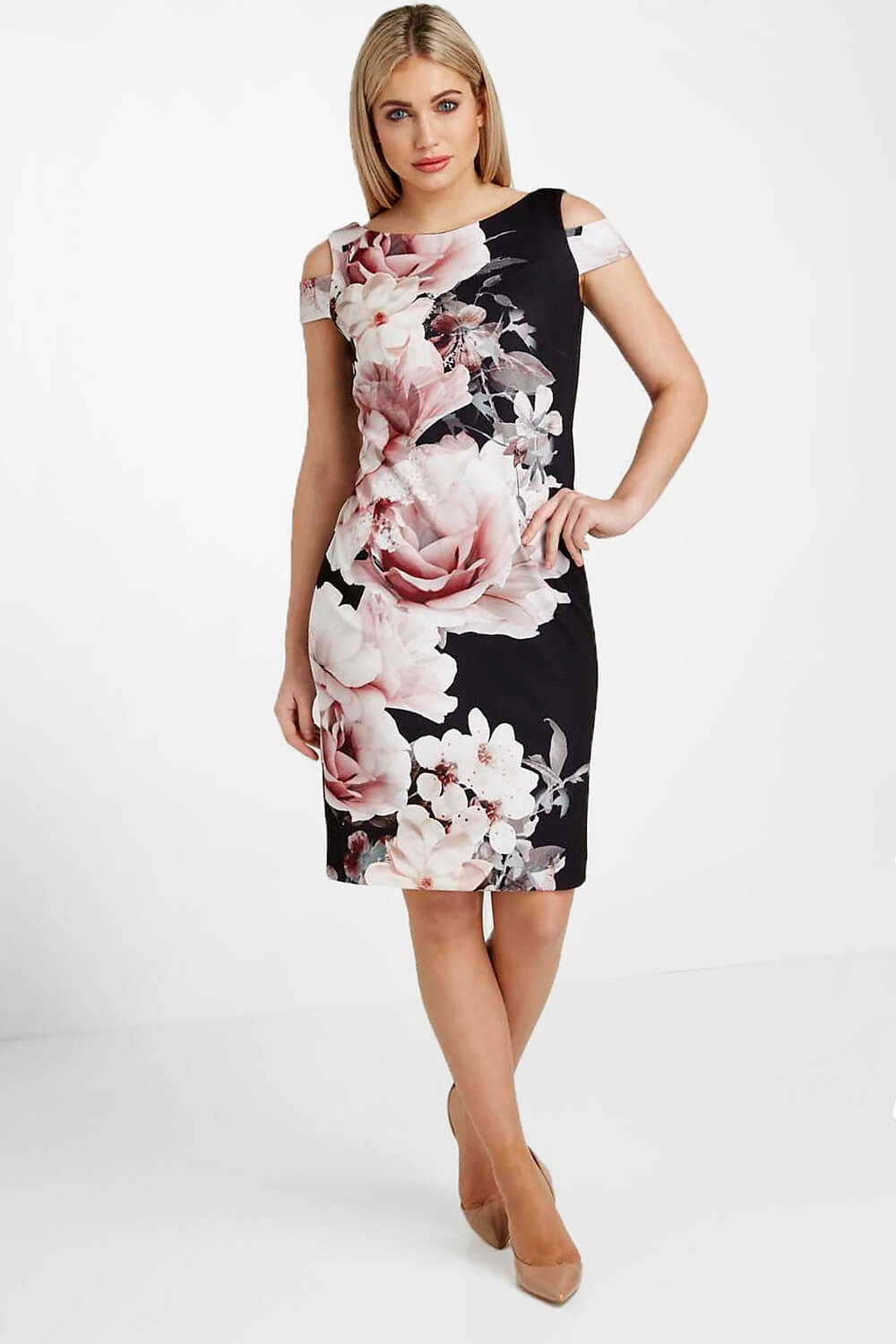 Roman-Originals-Women-039-s-Black-Floral-Print-Scuba-Dress-Sizes-10-20 thumbnail 11