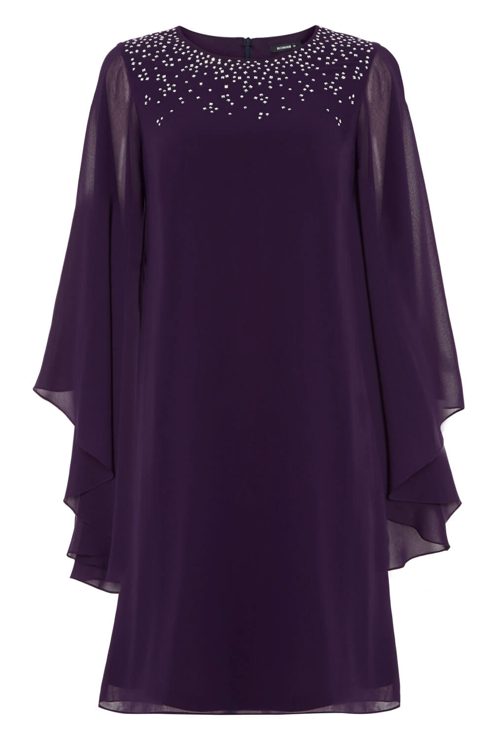Roman-Originals-Ladies-Embellished-Chiffon-Cape-Dress-Purple thumbnail 10
