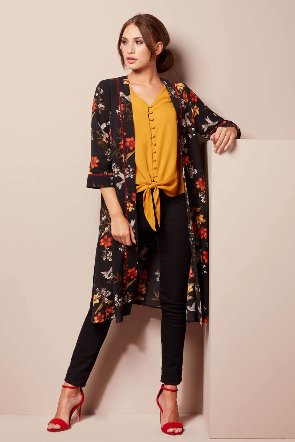 Roman-Originals-Women-039-s-Floral-Longline-Jacket-Kimono-in-Multi-Sizes-10-20 thumbnail 7