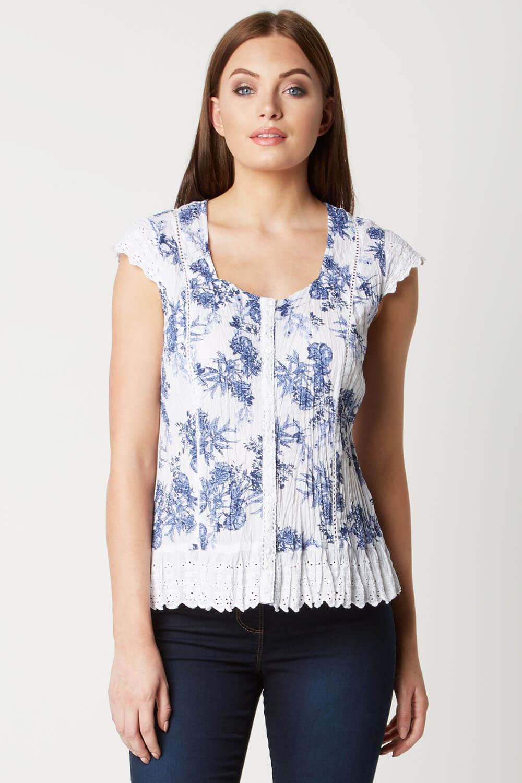 Roman-Originals-Womens-Cotton-Floral-Cap-Sleeve-Crinkle-Blouse thumbnail 8