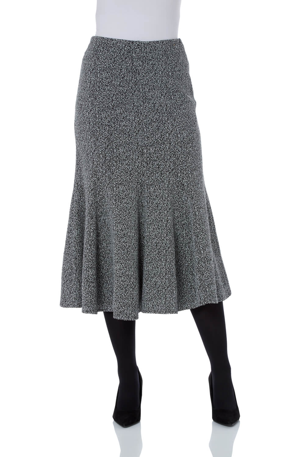 Roman-Originals-Women-Texture-Flared-Skirt-in-Grey-sizes-10-20
