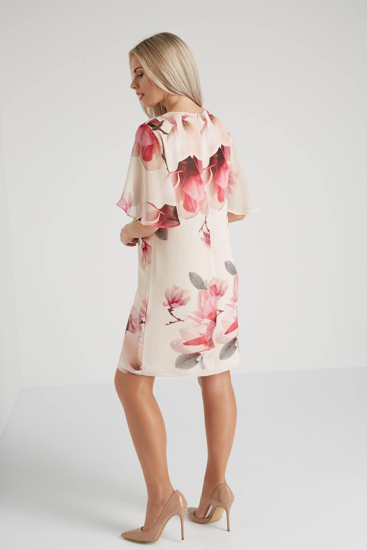 Roman-Originals-Women-039-s-Pink-All-Over-Floral-Print-Chiffon-Dress-Sizes-10-20 thumbnail 10