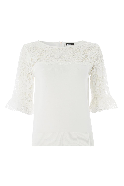 Roman-Originals-Women-039-s-Lace-Overlay-Frill-Sleeve-Top thumbnail 22