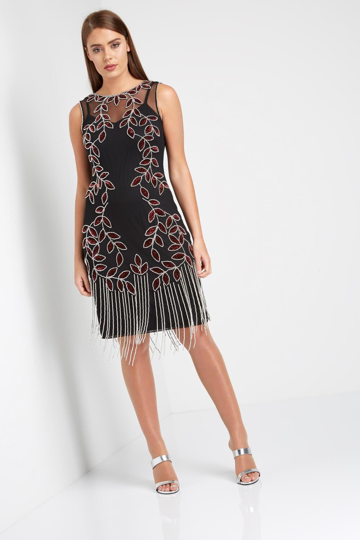 Roman-Originals-Ladies-Embellished-Flapper-Dress-Silver thumbnail 16