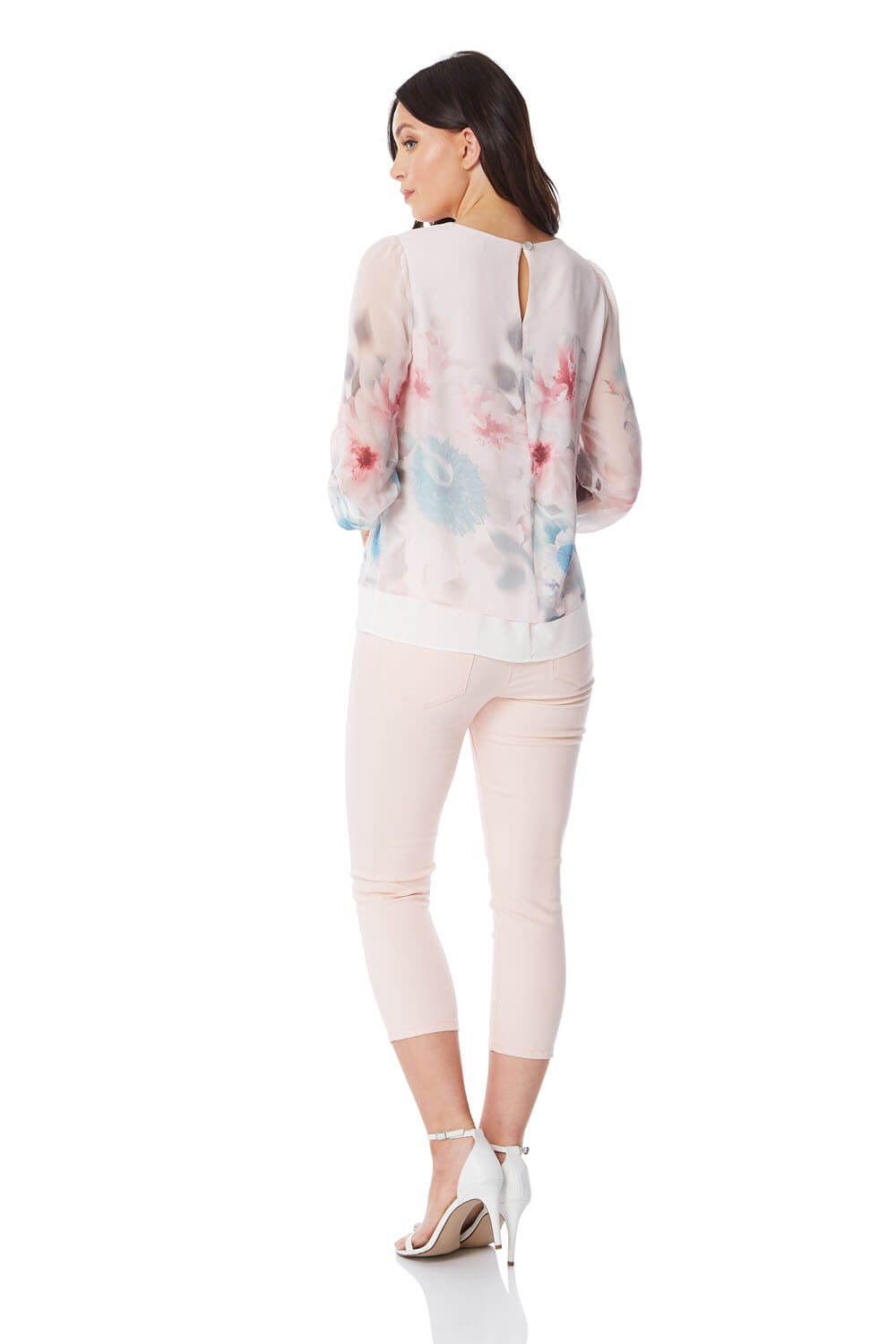 Roman-Originals-Womens-3-4-Length-Sleeve-Floral-Overlay-Top thumbnail 12