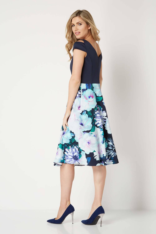 Roman-Originals-Women-039-s-Floral-Print-Fit-and-Flare-Scuba-Dress-Sizes-10-20 thumbnail 8