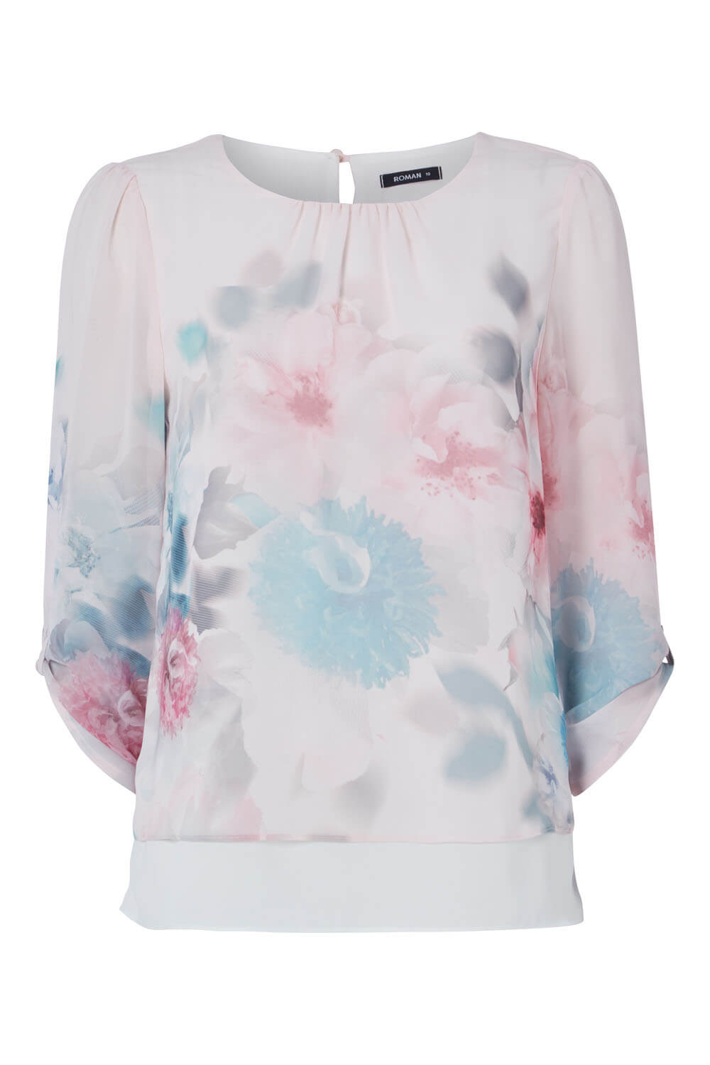 Roman-Originals-Womens-3-4-Length-Sleeve-Floral-Overlay-Top thumbnail 16