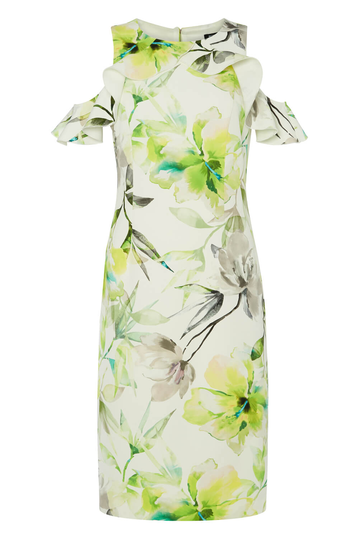 Roman-Originals-Womens-Lime-Green-Floral-Ruffle-Cold-Shoulder-Scuba-Dress