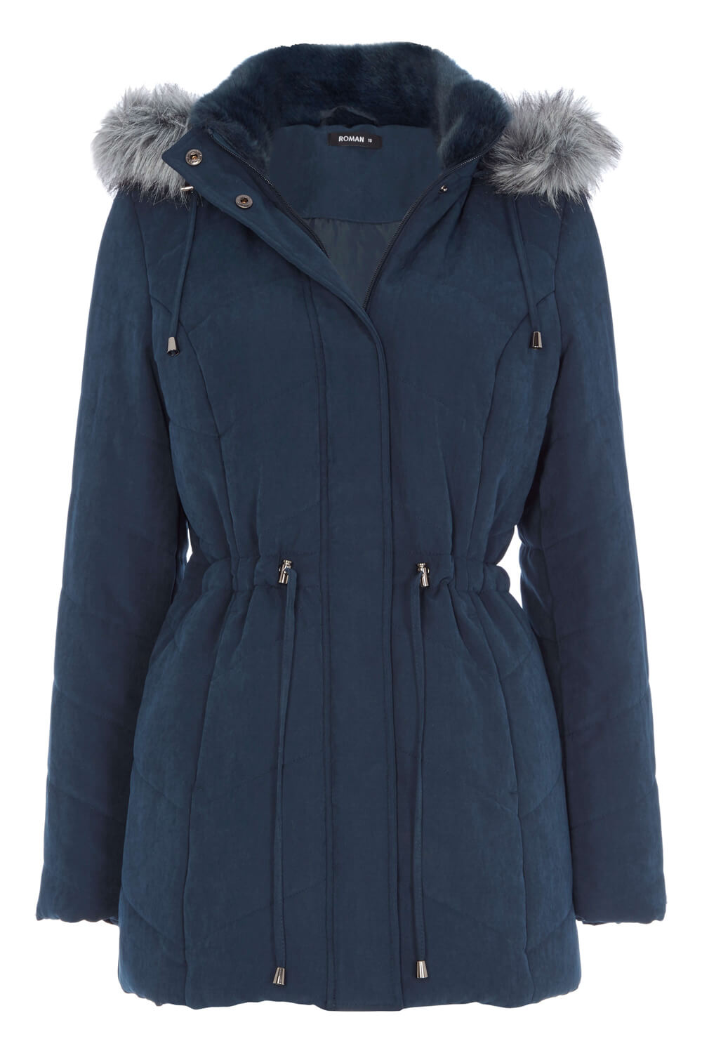 Roman-Originals-Women-039-s-Blue-Quilted-Parka-Coat-with-Hood-Sizes-10-20 thumbnail 19