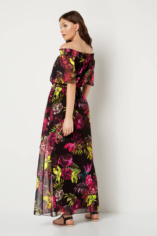 Roman-Originals-Women-039-s-Floral-Bardot-Maxi-Dress-Sizes-10-20 thumbnail 10