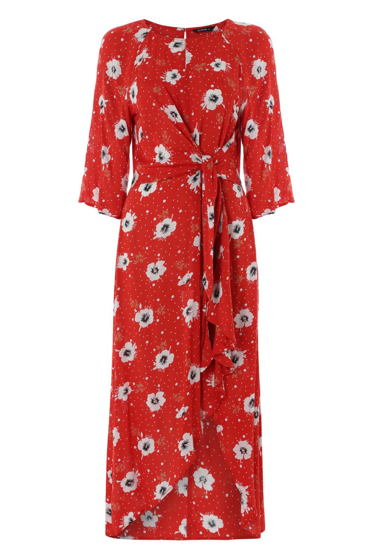Roman-Originals-Women-Red-Floral-Knot-Waist-Maxi-Dress thumbnail 8