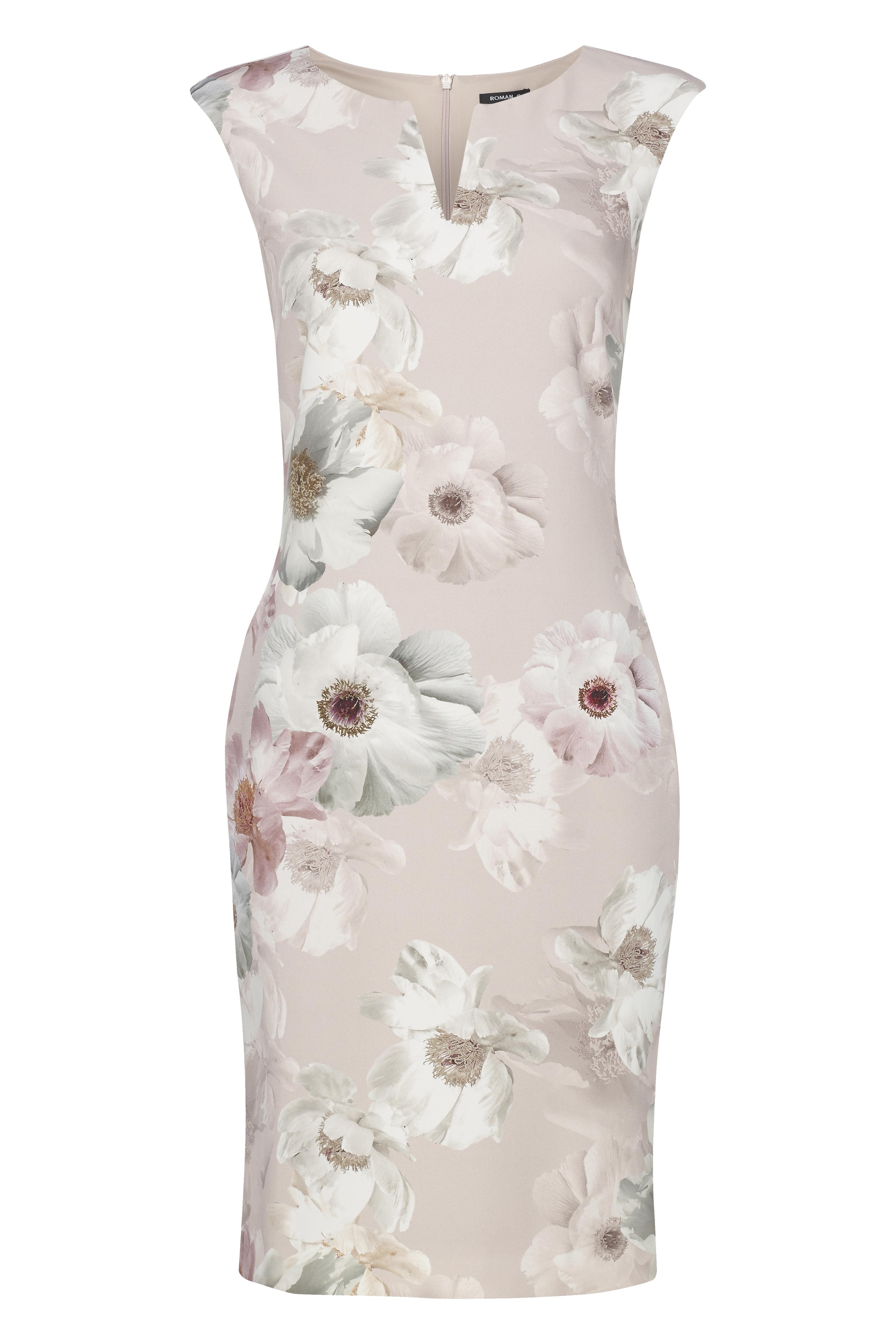Roman-Originals-Womens-Light-Pink-Floral-All-Over-Print-Scuba-Dress-Sizes-10-20 thumbnail 16