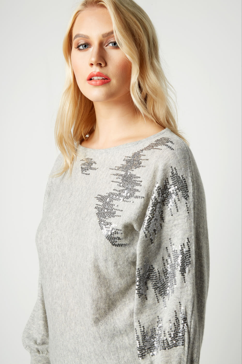 Roman-Originals-Women-039-s-Sequin-Embellished-Batwing-Sleeve-Boat-Neck-Jumper thumbnail 15
