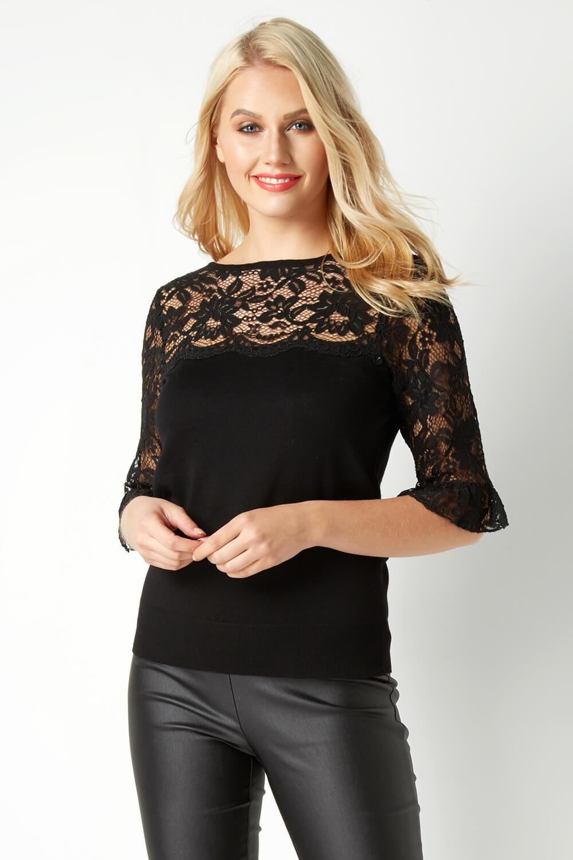 Roman-Originals-Women-039-s-Lace-Overlay-Frill-Sleeve-Top thumbnail 13
