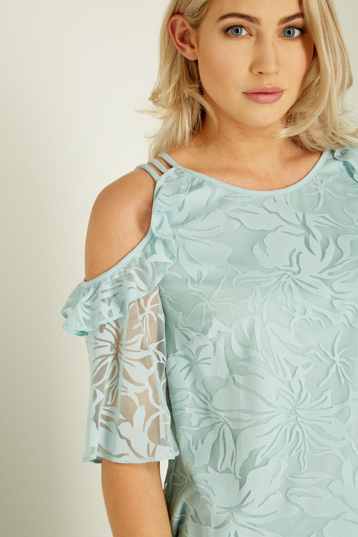 Roman-Originals-Womens-Mint-Green-Burnout-Cold-Shoulder-Top-Sizes-10-20