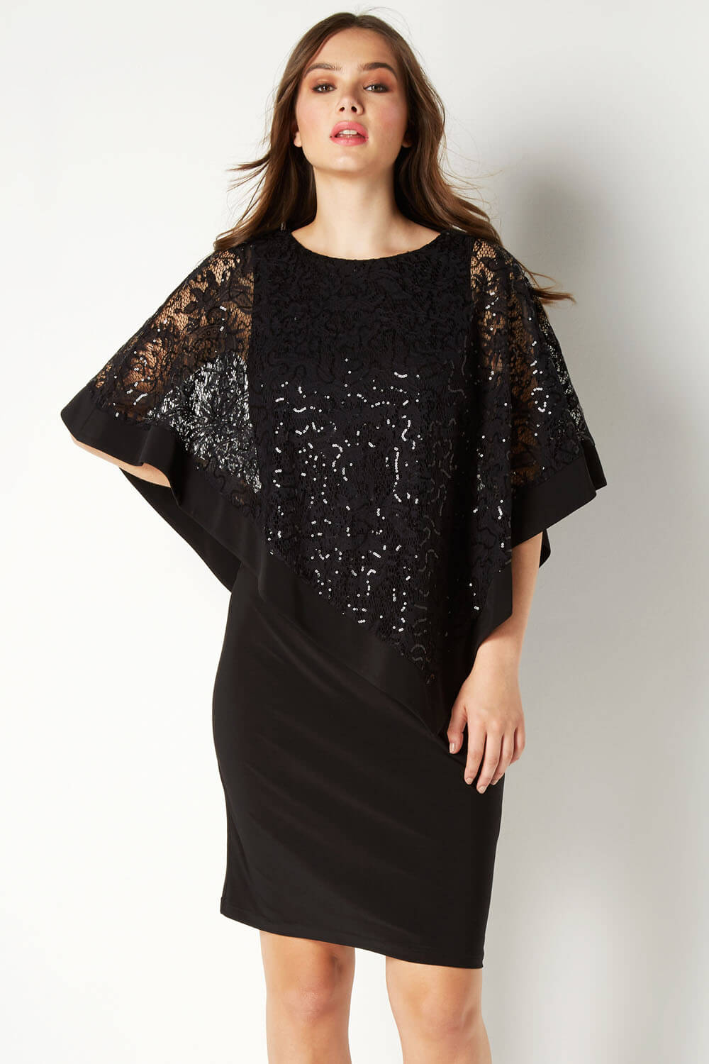 Roman-Originals-Women-039-s-Sequin-Lace-Boat-Neck-Overlay-Knee-Length-Dress thumbnail 14