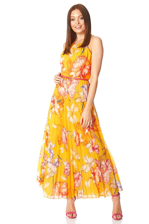 Roman-Originals-Women-039-s-Sleeveless-Floral-Pleated-Maxi-Dress thumbnail 19