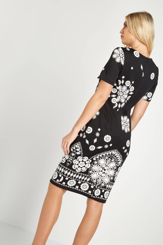 Roman-Originals-Women-039-s-Black-Border-Print-Scuba-Dress-Sizes-10-20 thumbnail 10