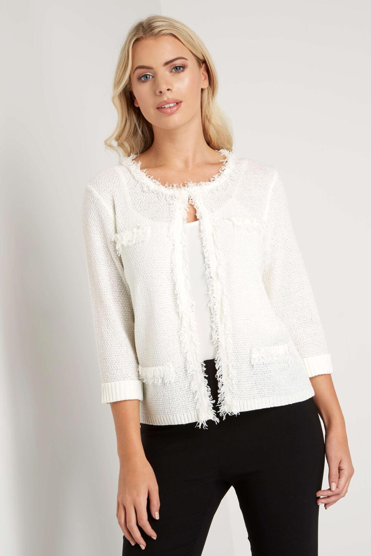 Roman-Originals-Women-039-s-White-Fluffy-Knitted-Cardigan-Sizes-10-20 thumbnail 13