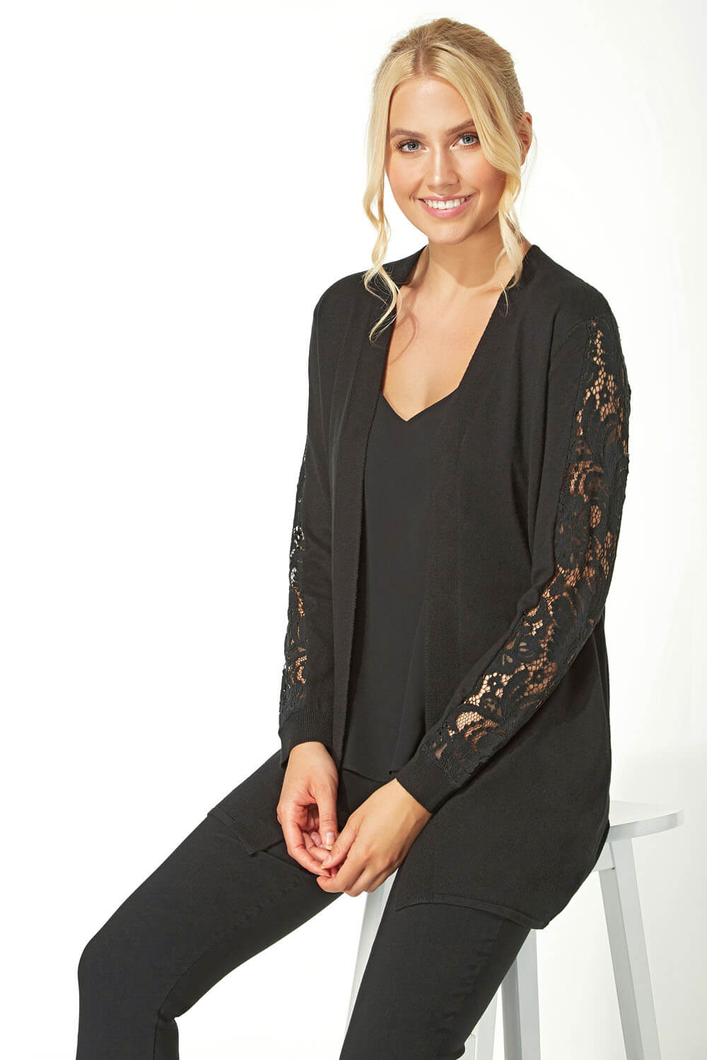 Longline-Long-Sleeve-Lace-Back-Cardigan-Women-Roman-Originals thumbnail 10