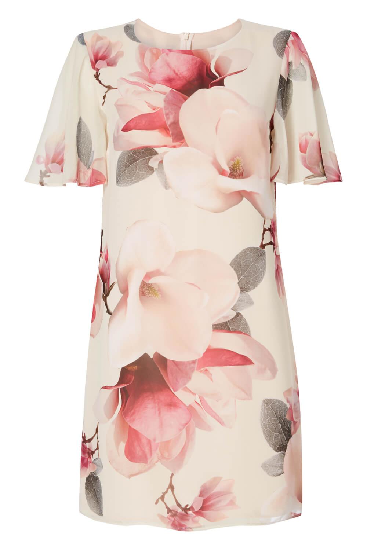 Roman-Originals-Women-039-s-Pink-All-Over-Floral-Print-Chiffon-Dress-Sizes-10-20 thumbnail 12