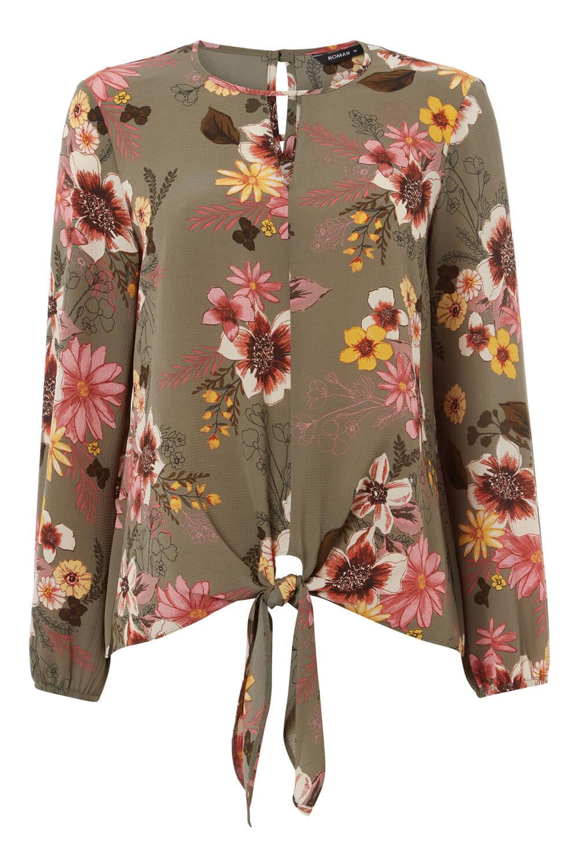 Roman-Originals-Femmes-Floral-Tie-Front-Top miniature 16