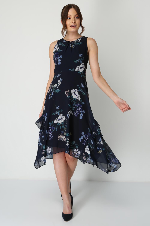 Roman-Originals-Women-Floral-Hanky-Hem-Ruffle-Dress thumbnail 9