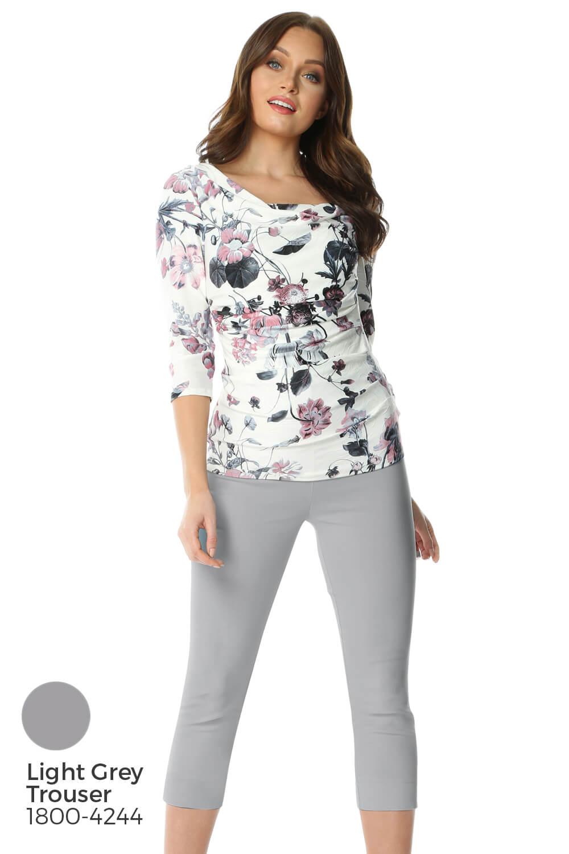 Roman-Originals-Womens-Floral-Cowl-Neck-3-4-Length-Sleeves-Floral-Top thumbnail 16