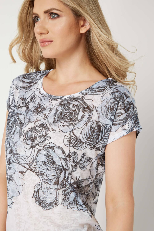 Roman-Originals-Women-039-s-Blue-Floral-Print-Hot-Fix-Jersey-Top-Sizes-10-20 thumbnail 8
