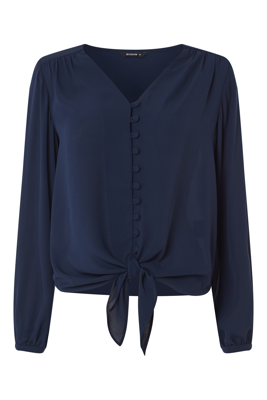 Roman-Originals-Women-039-s-Button-Tie-Front-Blouse-Ladies-Tops thumbnail 30