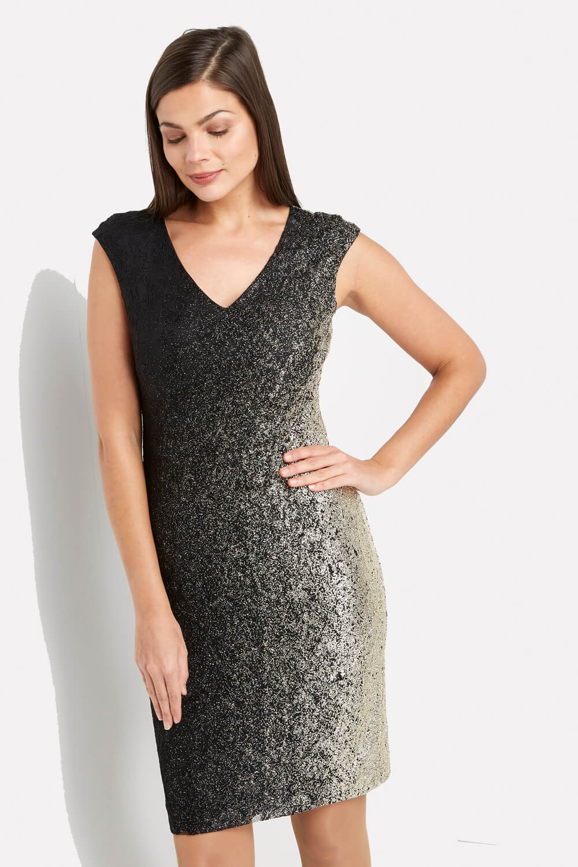 Roman-Originals-Ladies-Ombre-Shimmer-V-Neck-Dress
