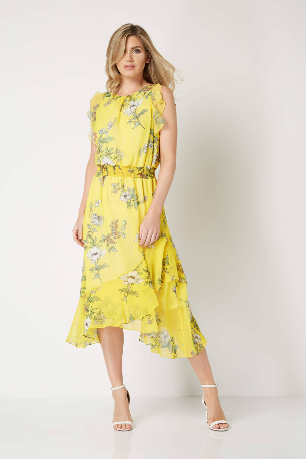 Roman Roman Roman Originals Women's Yellow Floral Frill Midi Dress 38e78d