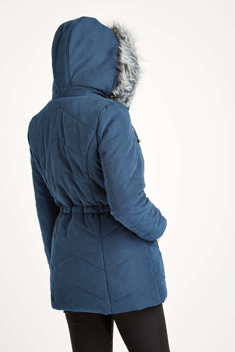 Roman-Originals-Women-039-s-Blue-Quilted-Parka-Coat-with-Hood-Sizes-10-20 thumbnail 18