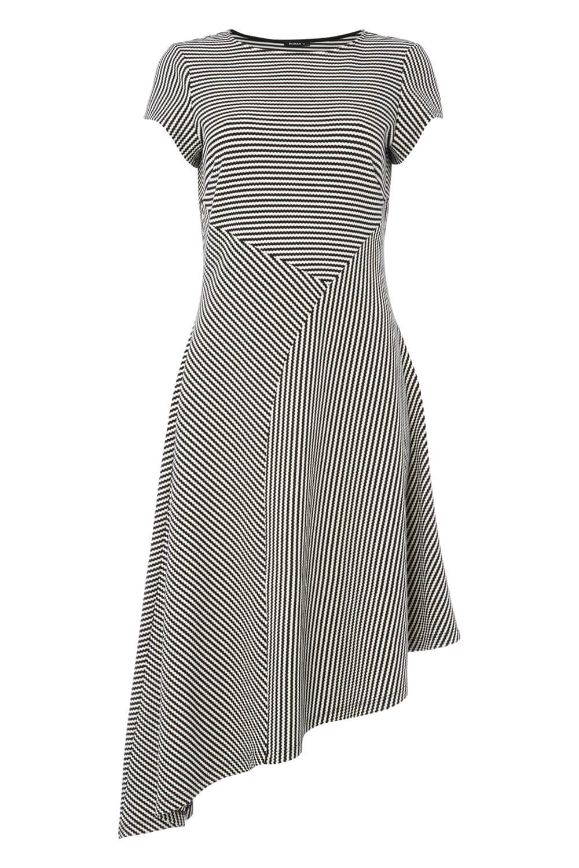 Roman-Originals-Women-039-s-Black-Stripe-Print-Asymmetric-Hem-Dress thumbnail 10