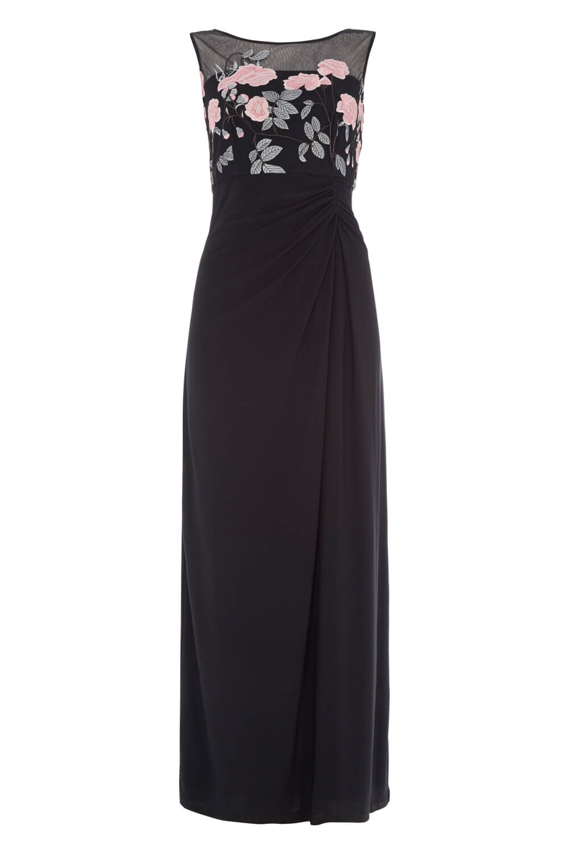 Roman-Originals-Women-039-s-Black-Rose-Embroidered-Maxi-Dress-Sizes-10-20 thumbnail 10