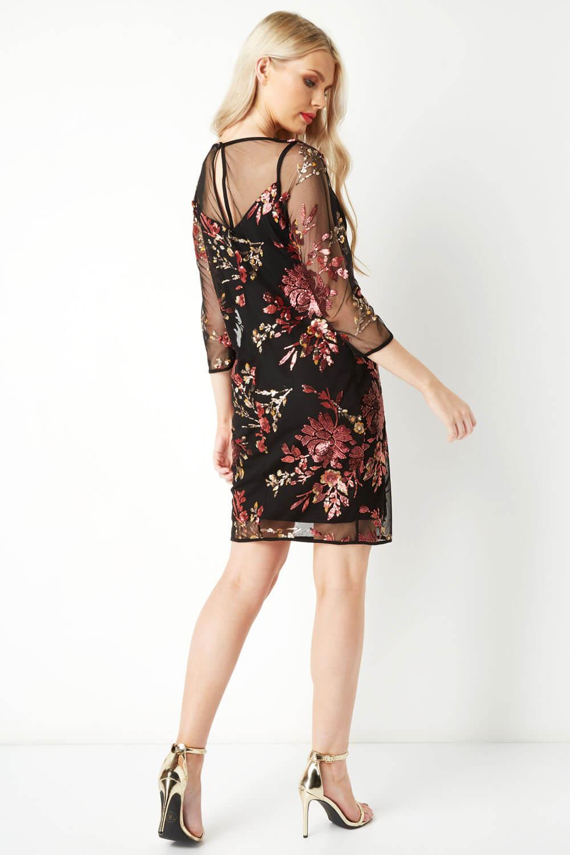 Roman-Originals-Women-039-s-Floral-Embroidered-Mesh-Overlay-Dress thumbnail 12