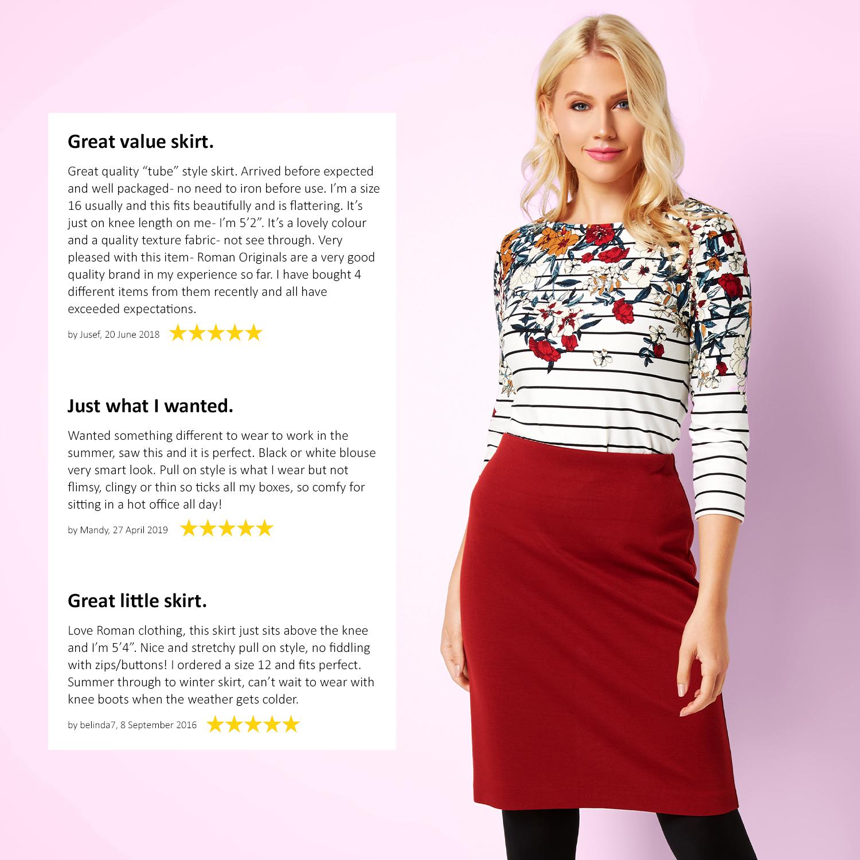 thumbnail 31 - Roman Originals Women's Textured Cotton Mix Jersey Short Skirt Formal Work Wear