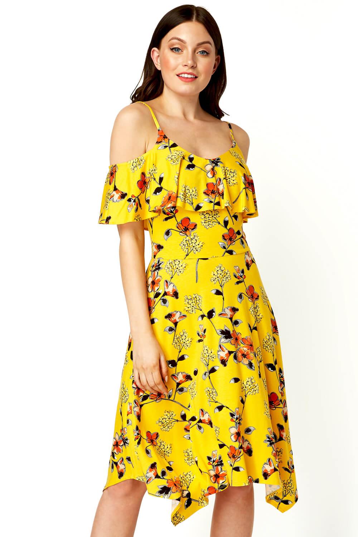 Roman-Originals-Women-Hanky-Hem-Cold-Shoulder-Dress thumbnail 27