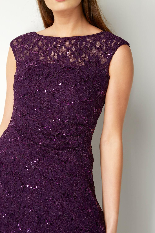 Roman-Originals-Ladies-Lace-Fit-and-Flare-Dress-Purple thumbnail 22