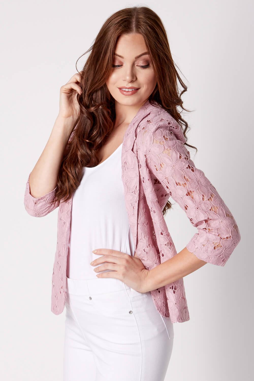 Roman-Originals-Womens-Rose-Pink-Floral-Lace-Jacket-Sizes-10-20 thumbnail 25