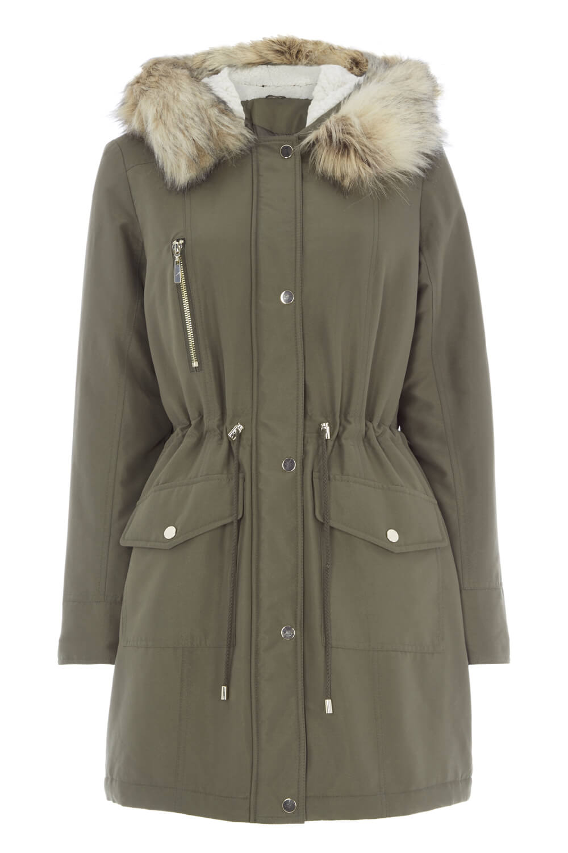 Roman-Originals-Women-039-s-Green-Parka-Coat-with-Faux-Fur-Trim-Hood-Sizes-10-20